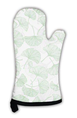 Oven Mitt, Green Floral With Ginkgo Leaves