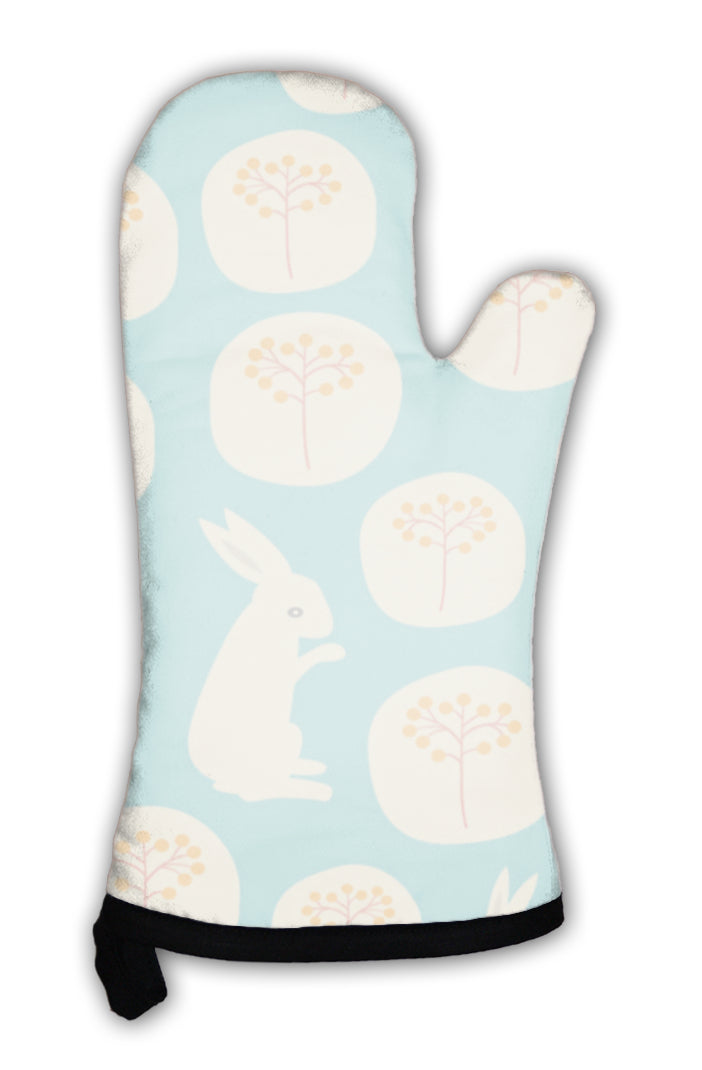 Oven Mitt, Pattern With Flowers And Rabbits