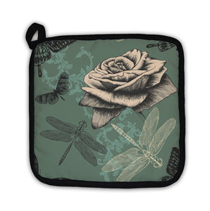 Potholder, Pattern With Rose Decorative Butterflies And Dragonflies Hand Dr