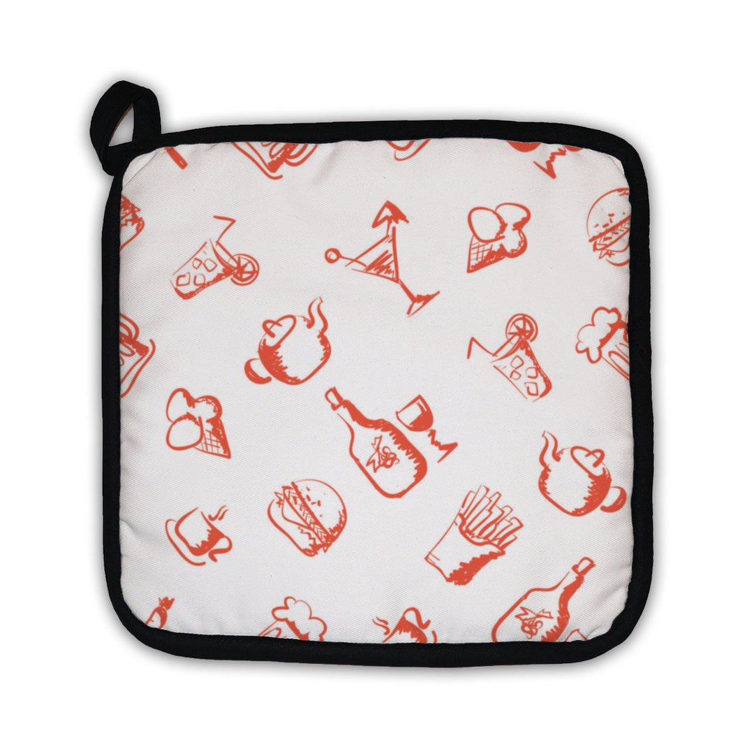 Potholder, Food Handdrawn Stylized Pattern