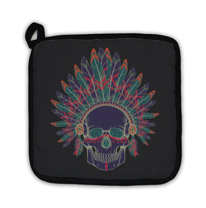 Potholder, Of Human Skull In Native American Indian Chi