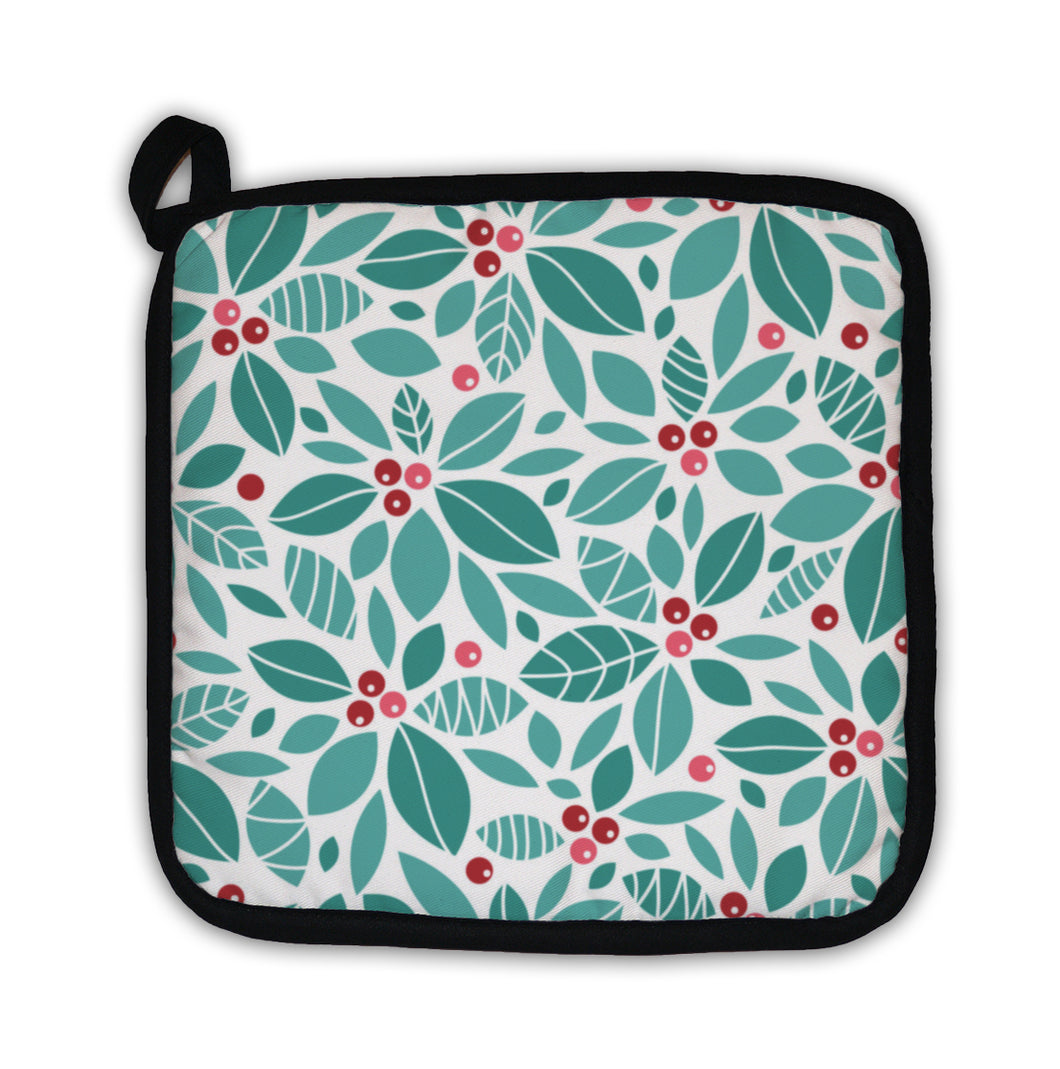 Potholder, Christmas Holly Berries Pattern