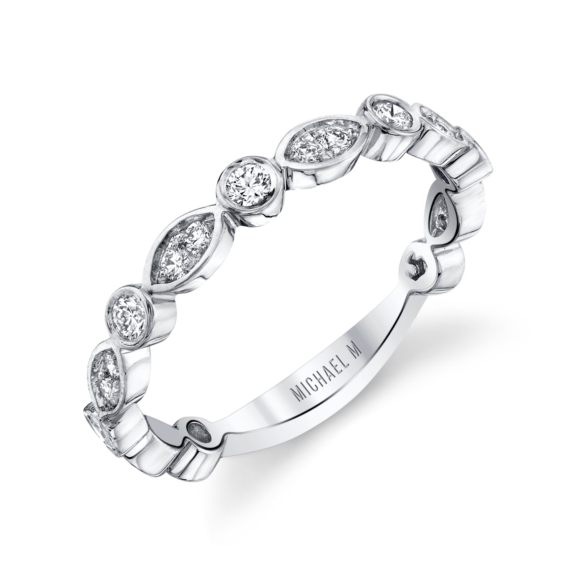 Marquise and Circle Pavé Diamond Band