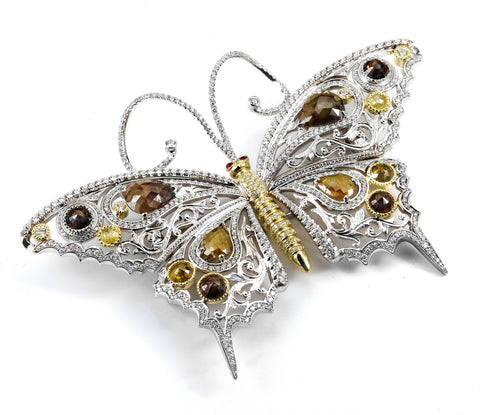 Handcrafted Mixed Diamond and Ruby Butterfly Brooch