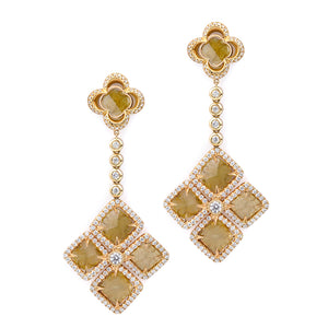 Mixed-Cut Yellow Diamond Floral Drop Earrings