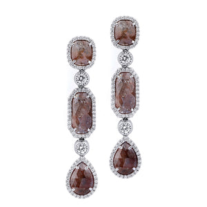 Mixed-Cut Diamond Drop Earrings