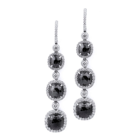 Triple Drop Cushion Black Diamond Earrings