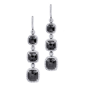 Large Triple Drop Cushion Black Diamond Earrings