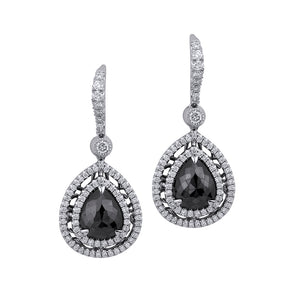 Pear Drop Black Diamond Earrings