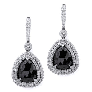 Large Pear Drop Black Diamond Earrings