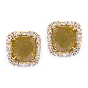 Large Sliced Square Yellow Diamond Earrings