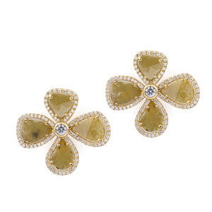 Sliced Yellow Diamond 4 Petal Flower Earrings