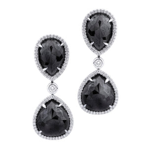 Large Double Drop Pear Black Diamond Earrings