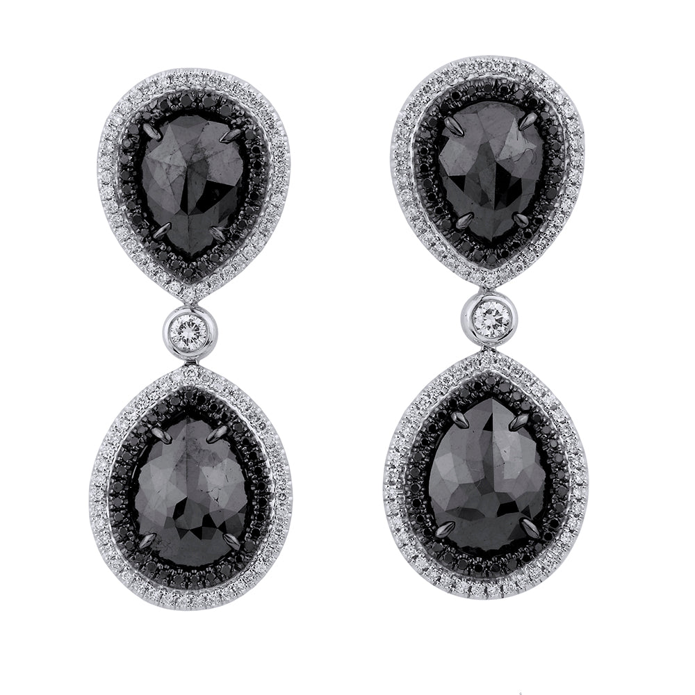 Double Drop Pear Black Diamond Earrings