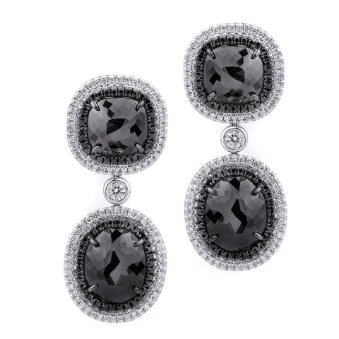 Double Drop Cushion Black Diamond Earrings