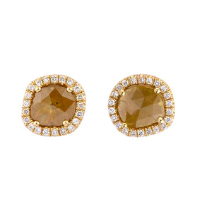 Sliced Round Yellow Diamond Earrings