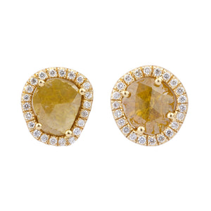 Large Sliced Round Yellow Diamond Earrings