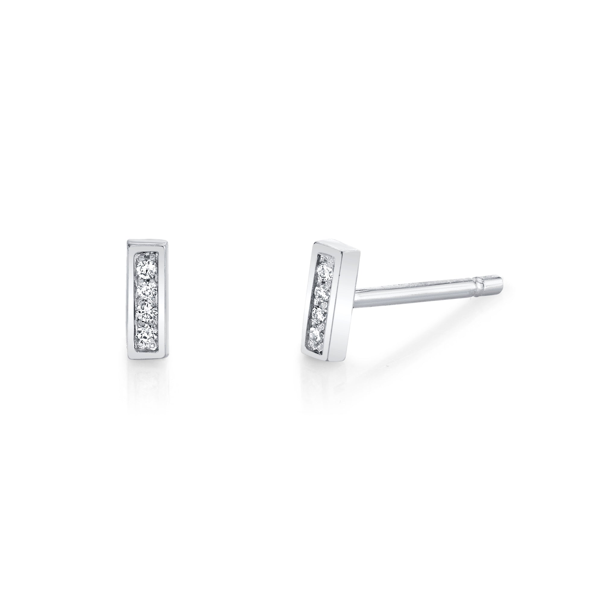Diamond Bar Stud Earrings