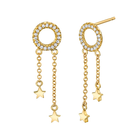 Mini Star Drop Diamond Earrings