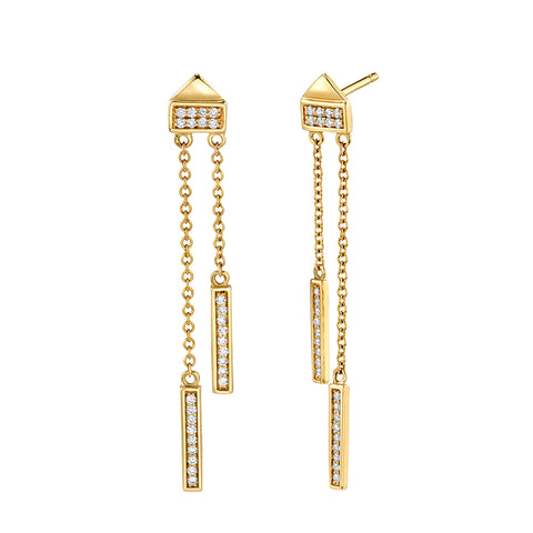 Diamond Bar Linear Earrings