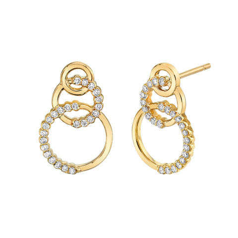 Triple Circle Diamond Drop Earrings