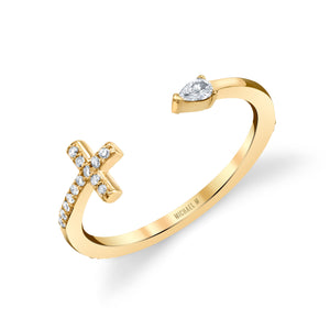 Cross and Teardrop Diamond Ring