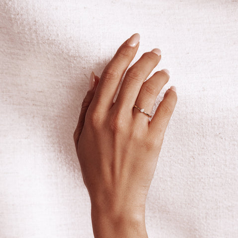 Micro Pavé Mini Teardrop Ring