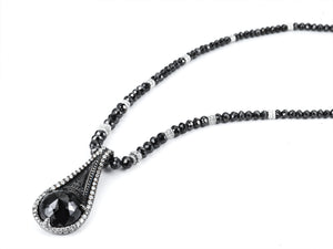 Black Diamond Tear Drop Pendant and Necklace