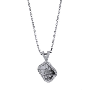 Grey Raw Diamond Halo Pendant