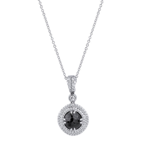 Round Black Diamond Double Halo Pendant