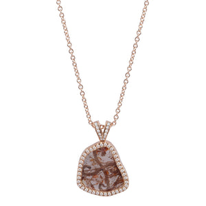 Brown Raw Diamond Halo Pendant