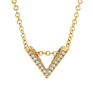 Mini V Diamond Pendant Necklace