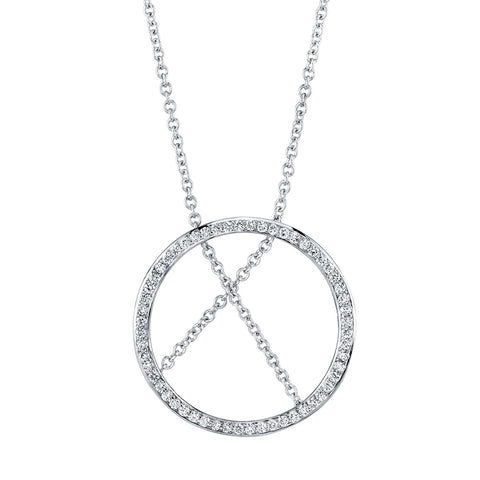 Circle and Chain Diamond Pendant Necklace