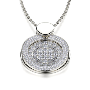 Diamond Filled Circle Pendant Necklace