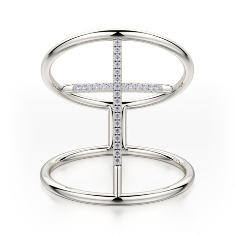 Double Band Diamond Cross Ring