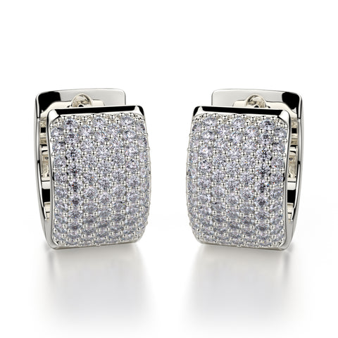 Wide Huggie Diamond Hoop Earrings