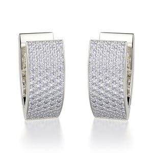 Narrow Huggie Diamond Hoop Earrings