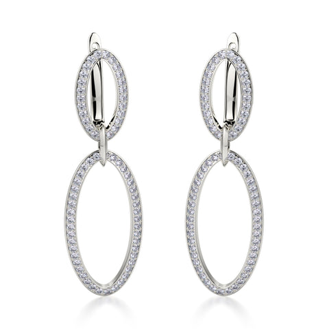 Double Oval Diamond Drop Earrings