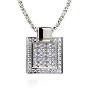 Diamond Filled Square Pendant Necklace