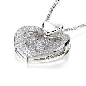 Diamond Filled Heart Pendant Necklace