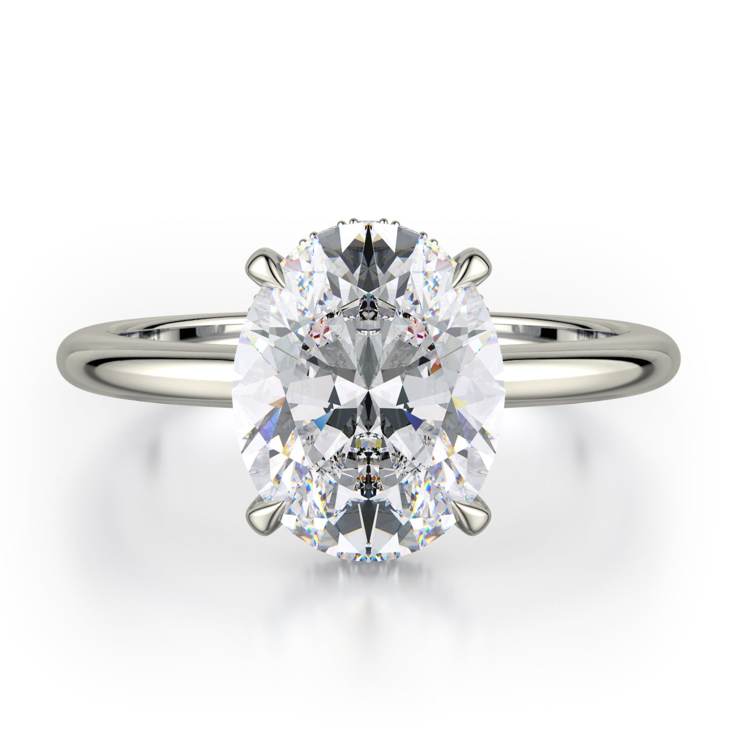 CROWN R750-3 Oval-Cut Diamond Solitaire