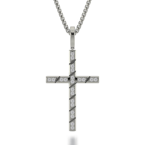 Box Diamond Cross Pendant