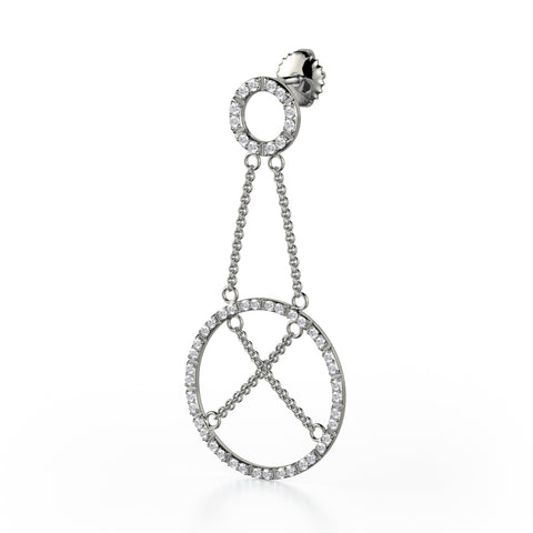 Circle and Chain Diamond Drop Earrings