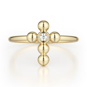 Single Diamond Cross Ring