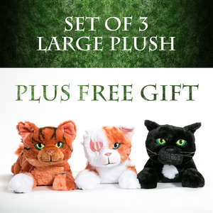 SET OF 3 LARGE PLUSH - Squirrelflight, Brightheart & Ravenpaw + FREE GIFT - PRE-ORDER