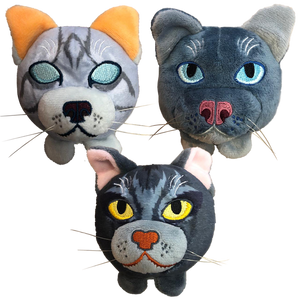 Mini Plush Head Bundle - Jayfeather / Graystripe / Mistystar - NOW IN STOCK