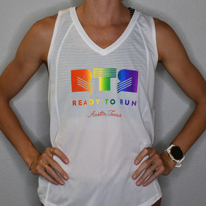 White RTR Rainbow Singlet - Womens