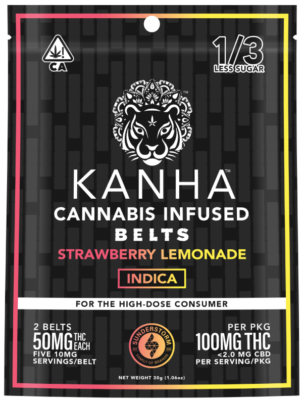 ***Promo*** Kanha Strawberry Lemonade Indica Gummy Belts 100mg