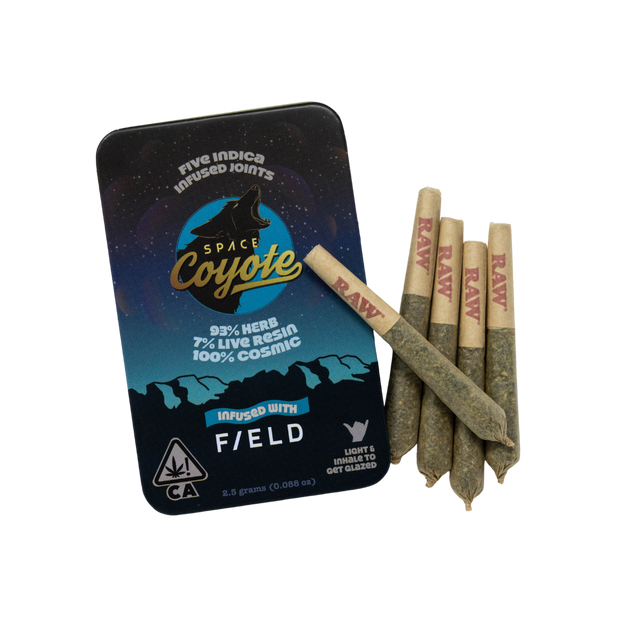 Space Coyote x Field Indica Live Resin Infused Pre-Rolls (5pk) 25.6% THC