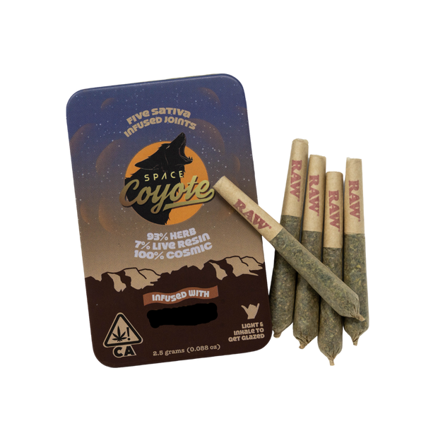 Space Coyote x Field Sativa Live Resin Infused Pre-Rolls (5pk) 20.63% THC